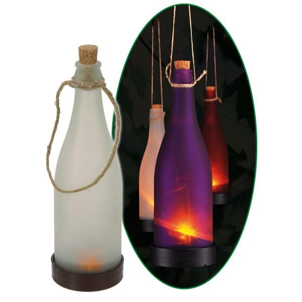 LED Solar Flasche weiß - Dekoleuchte für Garten - gelb flackernde LED