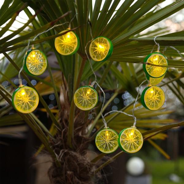 LED Lichterkette LIMETTE - 10 Limettenscheiben - warmweiße LED - Batteriebetrieb - L: 90cm - grün