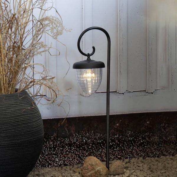 LED Solar Wegleuchte Bellota - warmweiße LED - mit Gartenspieß - H: 51cm - schwarz