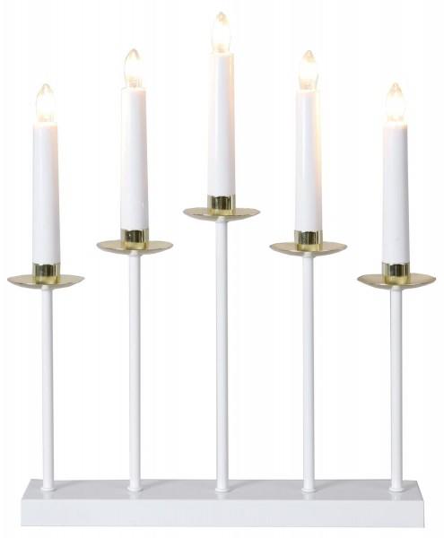 Fensterleuchter GRETA - 5flammig - H: 37cm - warmweiße Glühlampen - weiß/messing