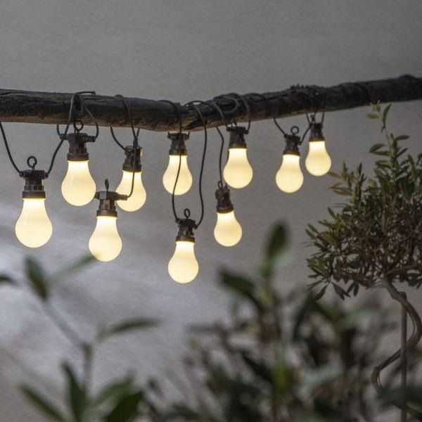LED Lichterkette CIRCUS - 10 opal weiße Birnen - warmweiße LED - 4,05m - inkl. Trafo - outdoor
