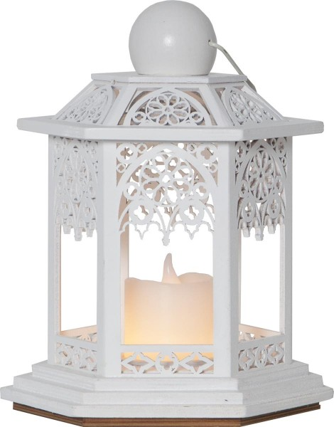 LED-Laterne | Lace-Design | 1x LED-Kerze | flackernde LED | Timer |→14cm | ↑20cm | Weiß
