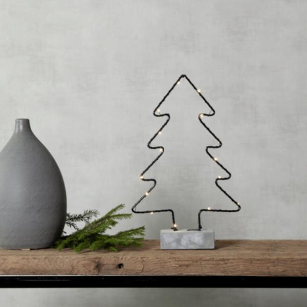 """LED Drahtbaum """"Cemmy"""" - 15 warmweiße LEDs - H: 35cm - stehend - Batteriebetrieb - schwarz/grau"""