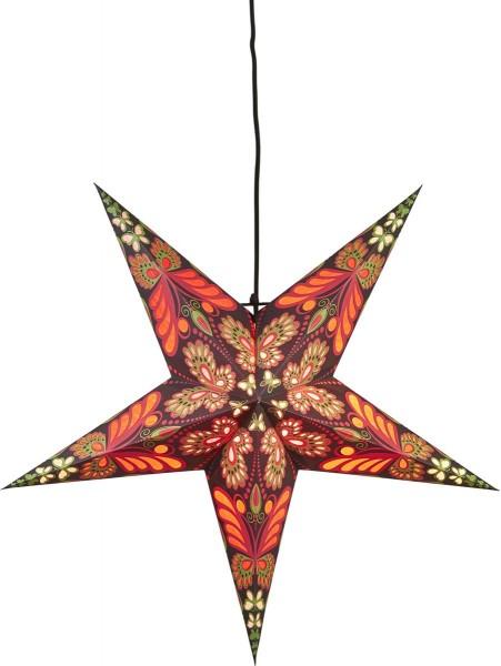 """Papierstern """"Blaze"""", 5zackig Farbe rot / schwarz, ca. 60 cm  Ø, ohne Kabel Geschenkbox"""