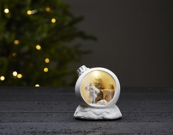 """LED-Weihnachtszene """"Merryville"""" - Santa in Baumkugel - weiß - 1 warmweiße LED - ↑11,5cm"""