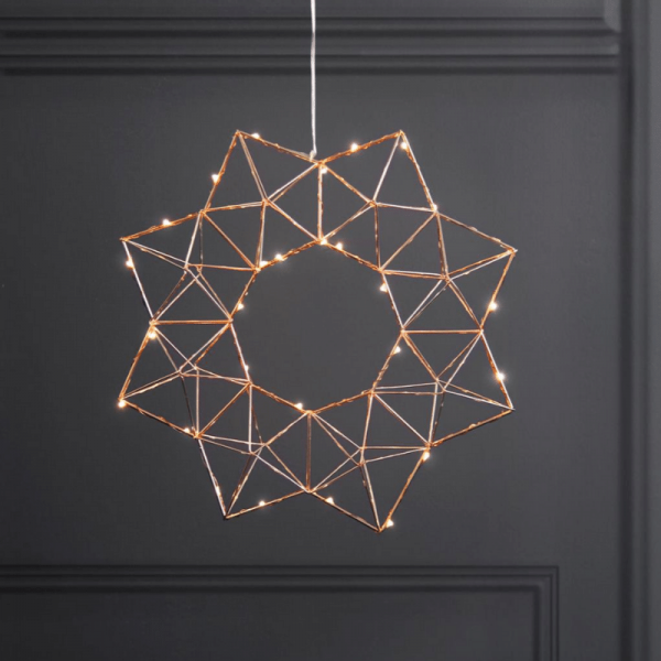 "LED-Drahtstern ""Edge"" - hängend - 30 warmweiße LEDs - Ø: 40cm - kupferfarben"