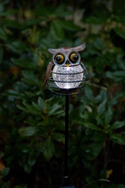 "LED-Solarstab ""Owl"" - braun - weiße LED in Glaskugel - H: 80cm - D: 13cm - Dämmerungssensor"