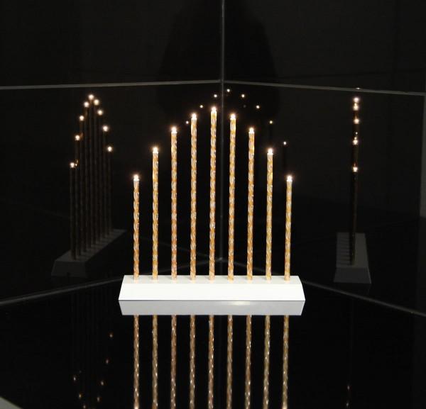 "LED-Fensterleuchter ""Trix"" - 9 warmweiße LEDs - H: 28cm, L: 27cm - Timer - Batteriebetrieb - Gold"