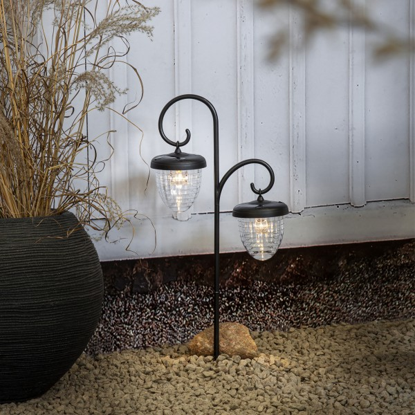 LED Solar Wegleuchte Bellota - 2 warmweiße LED - mit Gartenspieß - H: 51cm - schwarz