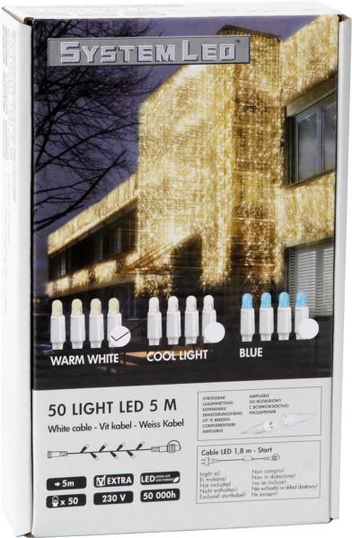 System LED White | Lichterkette | koppelbar | exkl. Trafo | 5.00m | 50x Warmweiß