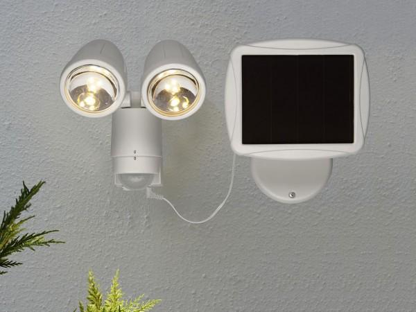 Scheinwerfer | Solar | Powerspot mit 200 Lumen | →22cm x ↑20cm | Warmweiß | mit Bewegungsmelder und Lichtsensor | Extra großes Solarpanel für mehr Leistung