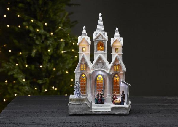 "LED-Leuchthaus ""Salisbury"" - Winterkirche - weiß - 9 warmweiße LEDs - ↑37cm"