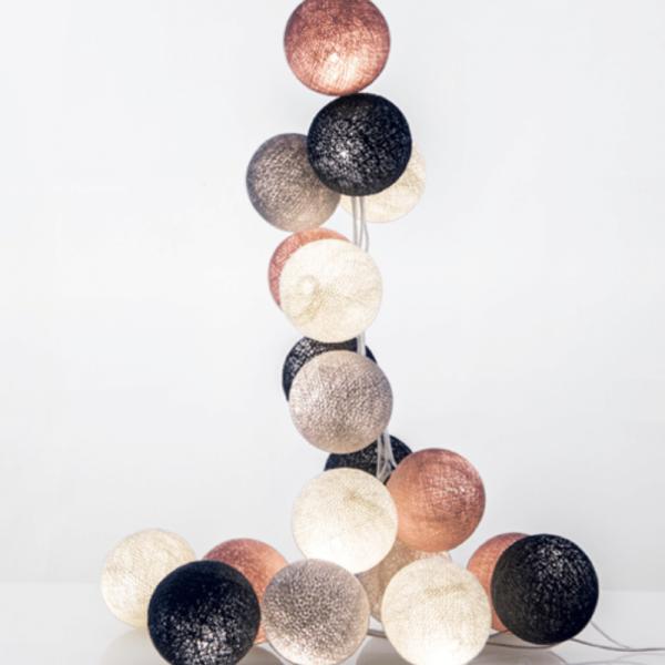 good moods* WUNDERBARE JAHRE - Ball-Lichterkette mit 20 Stoffkugeln - 20 warmweiße LEDs