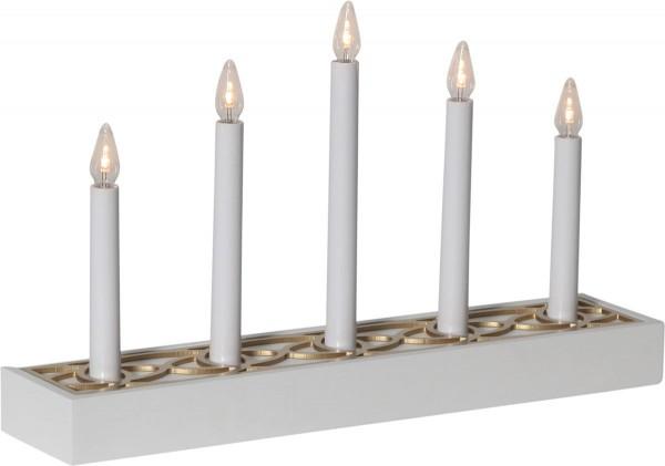 "LED-Fensterleuchter ""Magic Box "" - 5flammig - warmweiße LEDs - H: 26cm - Schalter - Weiß/Gold"