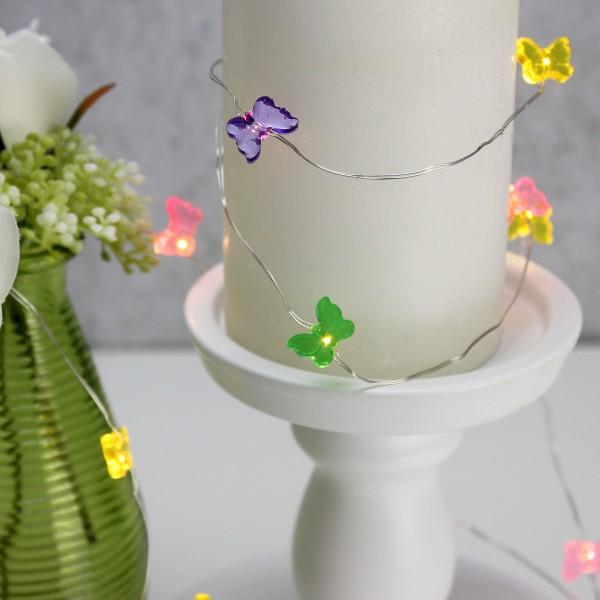 LED Drahtlichterkette Schmetterling - 20 warmweiße LED - L: 1,9m - Batteriebetrieb - mehrfarbig