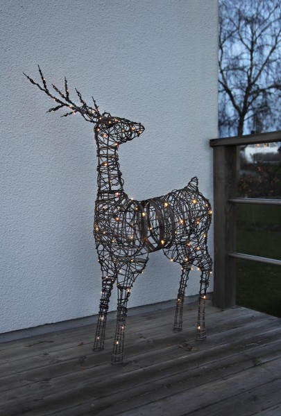 LED-Rattan Rentier - 80 warmweiße LEDs - H: 120cm - Material: Metall/ Kunststoff - Outdoor Figur