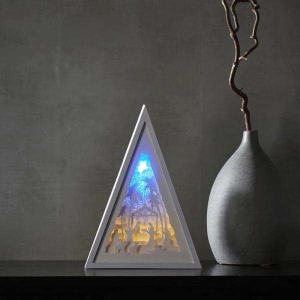 """LED-Bild mehrdimensional """"Krippe"""" - weiss - 8 LED - Batterie - Timer - H: 30,5cm - B: 22cm"""