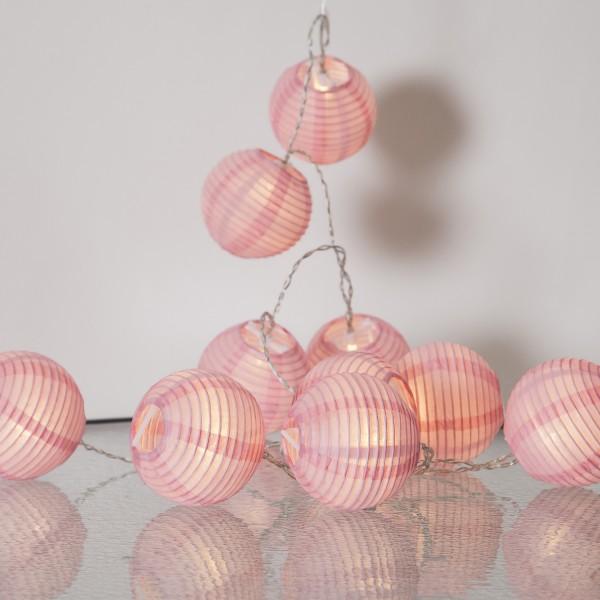LED Lichterkette Festival- 10 rosa Lampions - warmweiße LED - 1,35m - inkl. Trafo - für Innen