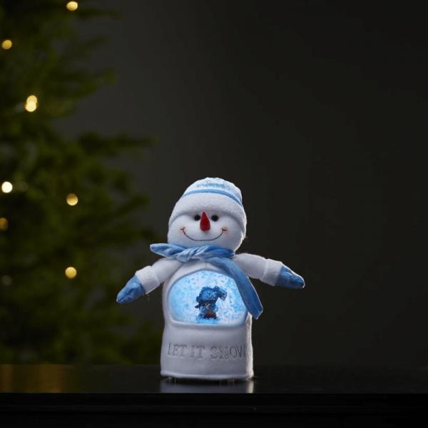 LED Stoff-Figur Schneemann - Schneekugel mit Sensor - 1 warmweiße LED - H: 26cm - Batteriebetrieb
