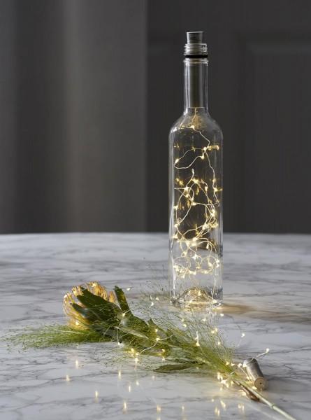 "LED-Lichterkette silber - ""Korken"" - Flaschenverschluss - 40 warmweiße LEDs - 2m - Batterie - Timer"