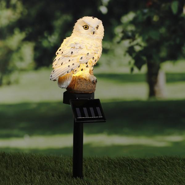 LED Solar Gartenstecker EULE - warmweiße LED - H: 45cm - Dämmerungssensor