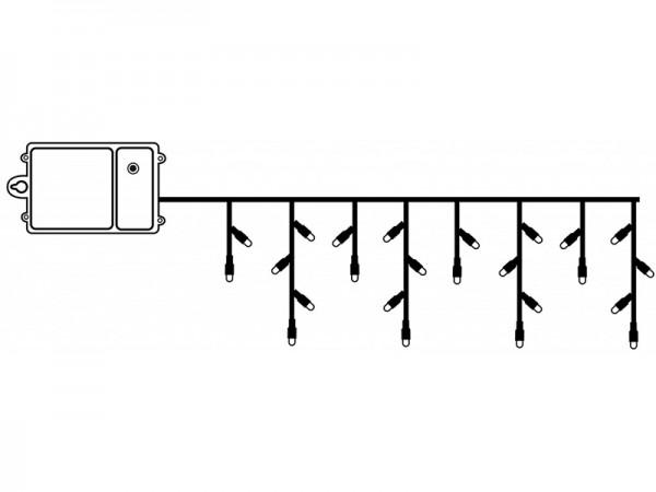 LED-Lichtervorhang - Dura Line Outdoor - Batteriebetrieb - Timer - 2,30 x 0,70m - 120x Warmweiß - Transparent