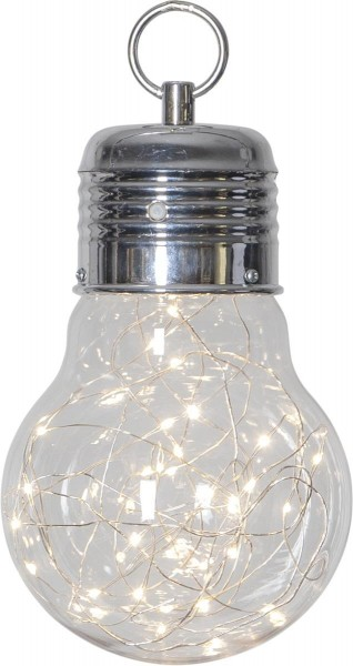 """LED-Dekoleuchte """"Bulby"""" - 30 WW Micro LEDs in Glühbirne - Batterie - Timer - H: 24cm - D: 15cm"""