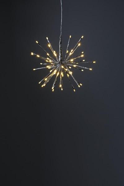 """3D-LED-Hängestern """"Firework"""" 30cm - silber mit 64 warmweißen LEDs - Programme - 5m Zuleitung"""