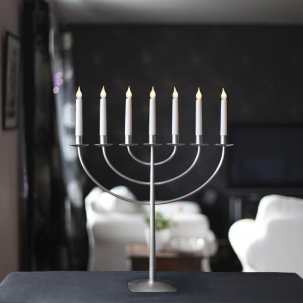 LED Kerzenleuchter MARCIA - 7 Arme - warmweiße LEDs - H: 57cm - Schalter - Stahl