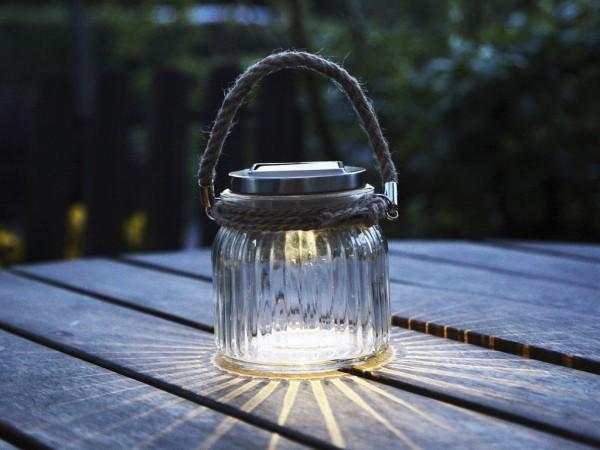Solarglas - Jamjar - 11,5cm Höhe 11cm Durchmesser - Solarpanel - Geriffeltes Glas - Mit Lichtsensor