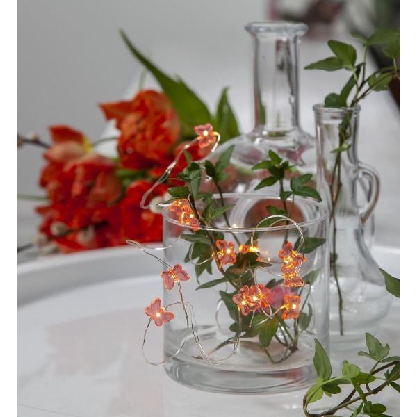 LED-Lichterkette - Flexi Line Indoor - Batteriebetrieb - 1,10m - 12x Rosa - Schmetterling