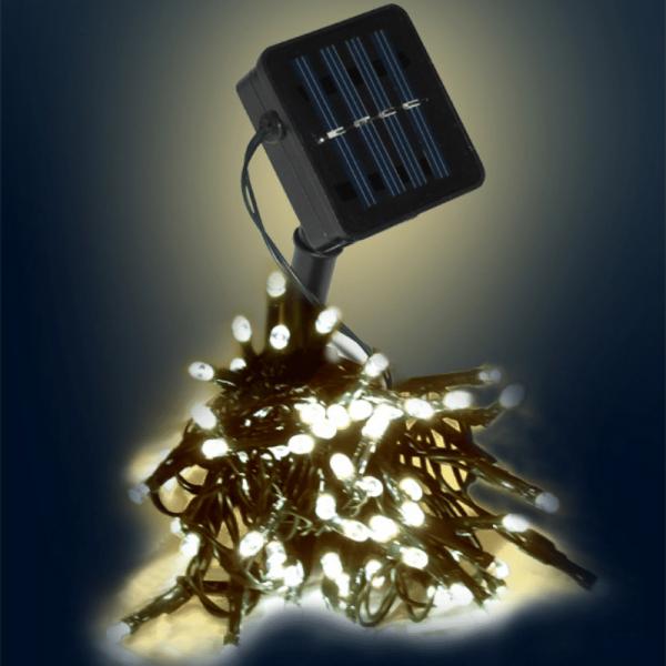 LED-SOLAR-Lichterkette | 100x warmweiße LEDs | In&Outdoor | grünes Kabel | warmweiße LED | 10m