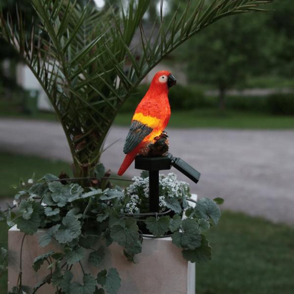 """LED Solar Gartefigur """"Papagei"""" - bunter Papagei auf Stab - H: 31cm - Dämmerungssensor"""