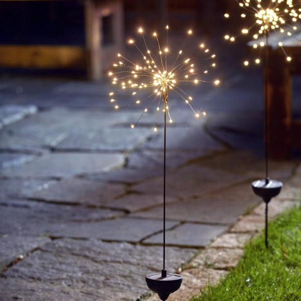 LED Solarstab FEUERWERK Gartendeko - 90 warmweiße LED - H: 100cm - Dämmerungssensor