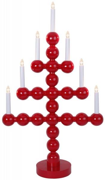 "LED-Kerzenleuchter ""Julkul"" - 7 Arme - warmweiße LEDs - H: 73cm, L: 43cm - Schalter - Rot"