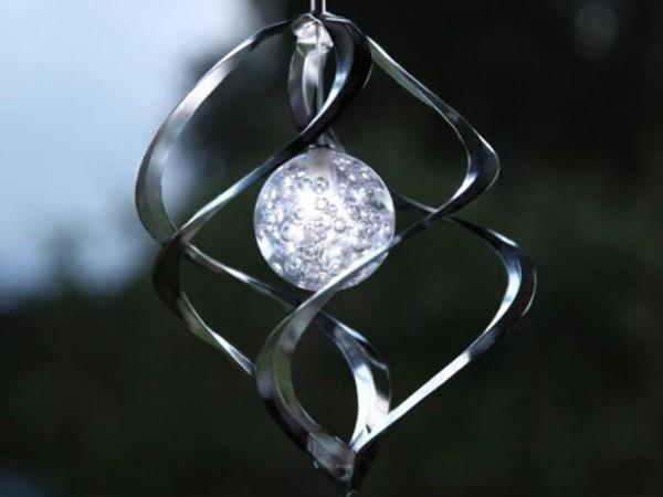 LED-Solar-Windspiel - Windmühle - Silber