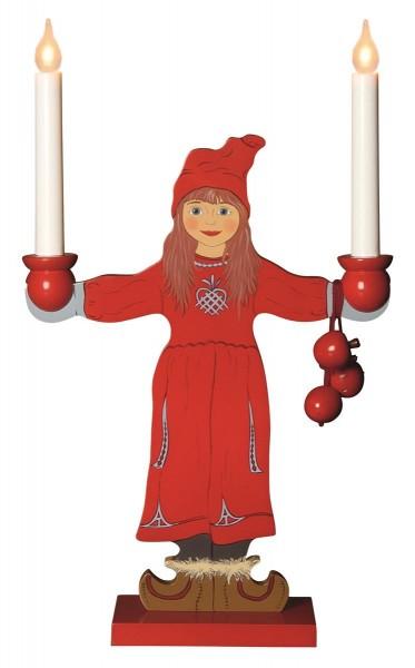 """LED Kerzenleuchter """"Sundborn"""" - Leuchtfigur - Mädchen - 2 Arme - warmweiße LEDs - H: 48cm - Schalter"""