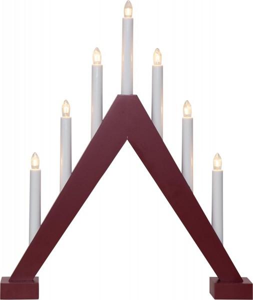 Fensterleuchter Trill - 11 warmweiße Glühlampen - L: 40cm, H: 47cm - Holz - Schalter - Rot