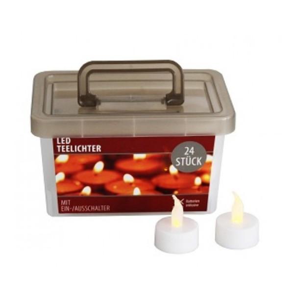 LED Teelichter 24er Set in Box - flackernd - inkl. Batterien