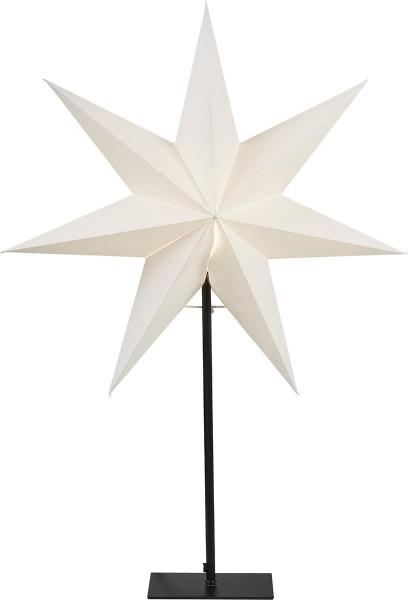 """Papierstern """"Frozen"""" - stehend - 7-zackig - Ø 55cm, H: 80cm - E14 Fassung - inkl. Kabel - weiß"""