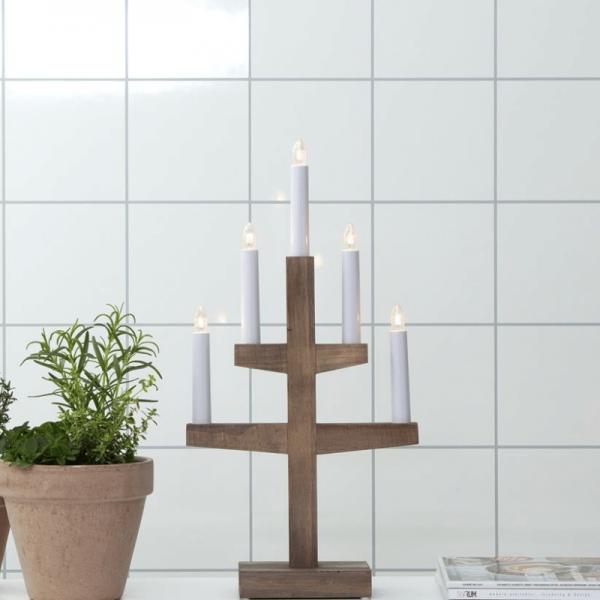 """Kerzenleuchter """"Trapp"""" - 5 Arme - warmweiße Glühlampen - H: 46cm, L: 24cm - Schalter - Braun"""