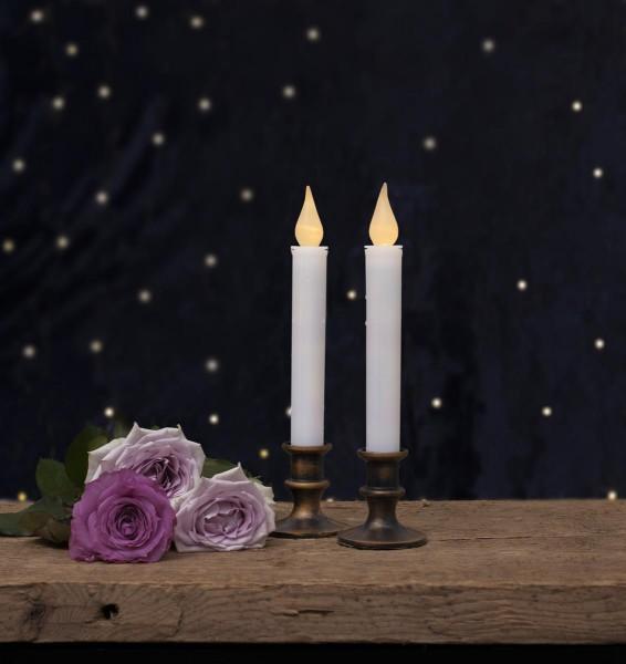 "LED-Kerzen ""Mette"" 2er Set - mit antik-bronzenem Standfuss - warmweiße LED - H: 23cm - Timer"