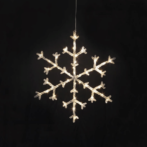 "LED-Acryl-Schneeflocke ""Icy Star"" - 50 warmweiße LED - H: 45cm - schwarz/klar - inkl. Trafo"