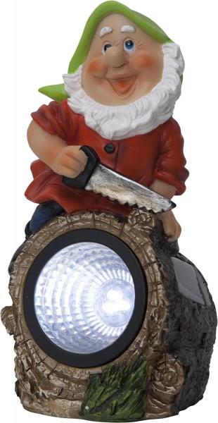 """LED-Solar Gartenzwerg """"Gnomy"""" - Spot mit weißer LED - H: 21cm - Dämmerungssensor"""