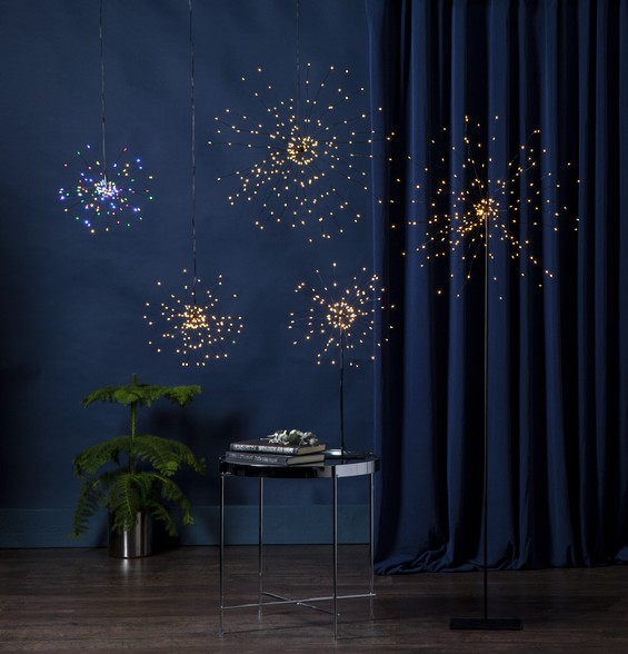"3D-LED-Hängestern ""Firework"" - 120 bunte LED - schwarz - D: 26cm - Material: Metall"