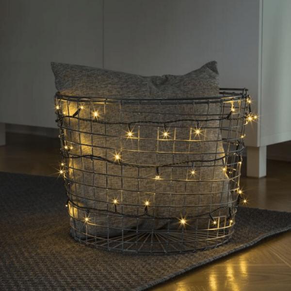 Micro LED Lichterkette - 35 bernsteinfarbene LED - L: 2,38m - grünes Kabel - Indoor
