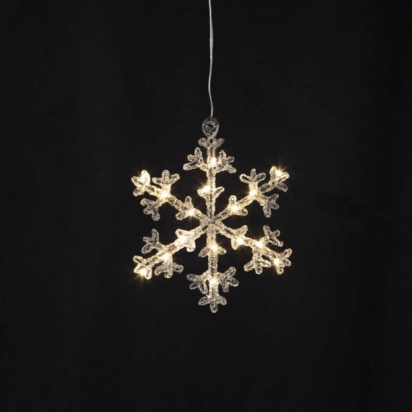 """LED-Acryl-Schneeflocke """"Icy Star"""" - 16 warmweiße LED - H: 18cm - schwarz/klar - Batteriebetrieb - Ti"""
