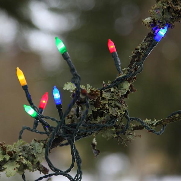 LED Mini Lichterkette Pisello - 80 bunte LED - L: 16m - grünes Kabel - outdoor