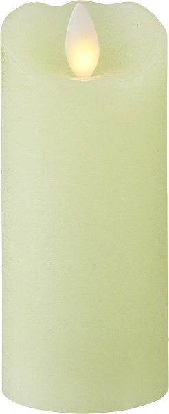 """LED Kerze """"Glow"""" hellgrün mit gelber LED - H: 12,5cm D: 5,5cm - Timer"""