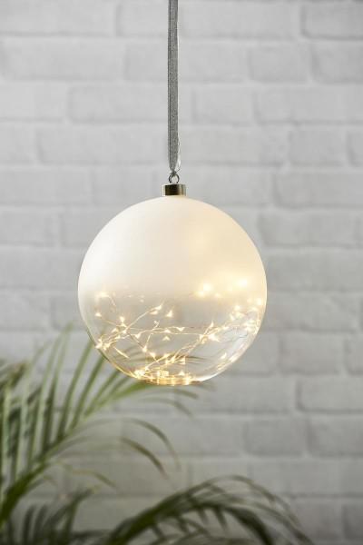 Glaskugel GLOW - gefrostetes Glas - 50 warmweiße LED am Draht - D: 20cm - inkl. Trafo - 3m Kabel